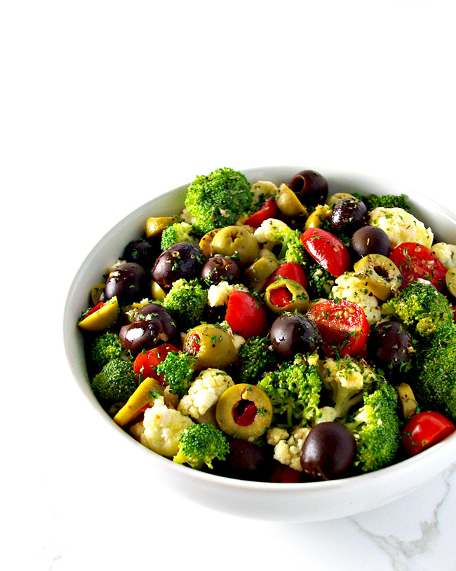 Broccoli Cauliflower Greek Salad is an easy Mediterranean salad recipe to make! | spiritedandthensome.com