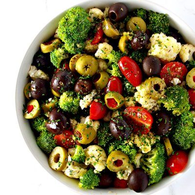 Broccoli Cauliflower Greek Salad