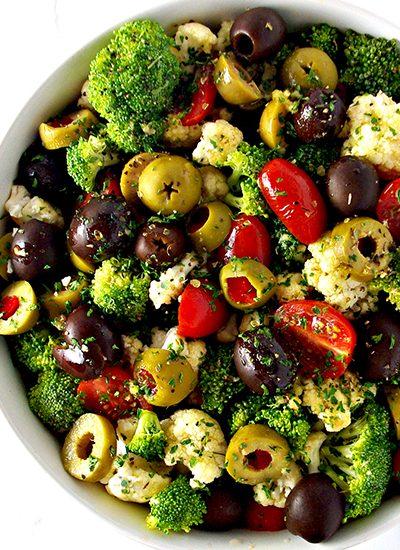 Broccoli Cauliflower Greek Salad is an easy gluten-free salad to make! Vegan and paleo, too! | spiritedandthensome.com