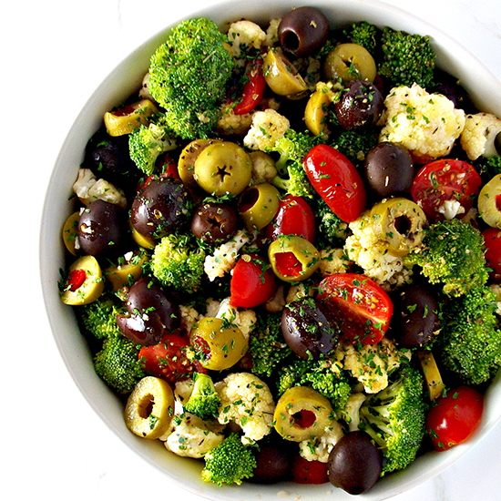 Broccoli Cauliflower Greek Salad is an easy gluten-free salad to make! Vegan and paleo, too! | spiritedandthensome.com