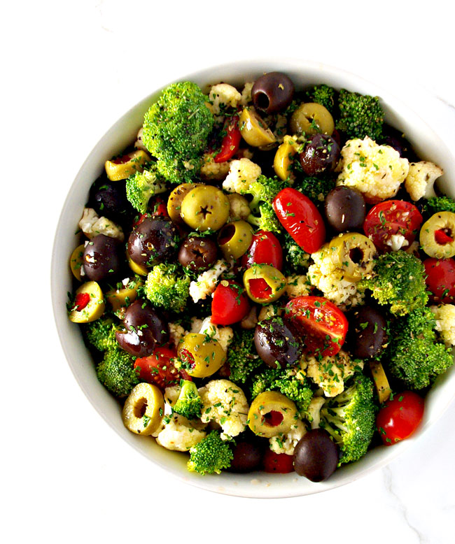 Broccoli Cauliflower Greek Salad is a delicious easy Greek salad to make! Ready in minutes, it's vegan and paleo! | spiritedandthensome.com