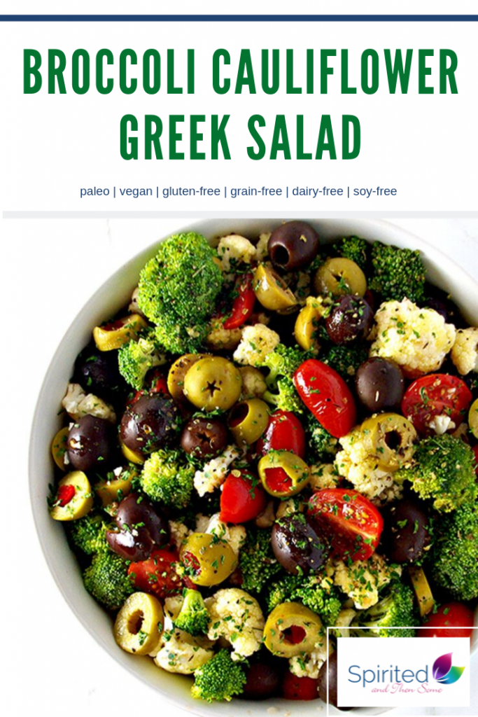 Broccoli Cauliflower Greek Salad is a tantalizing paleo salad recipe! Made with olives and grape tomatoes, it is a delicious way to get your veggies! | spiritedandthensome.com