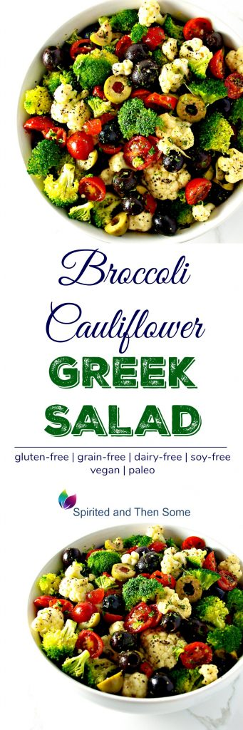 Broccoli Cauliflower Greek Salad is as delicious paleo Mediterranean salad recipe that is vegan and paleo! Made with grape tomatoes and black and green olives! | spiritedandthensome.com