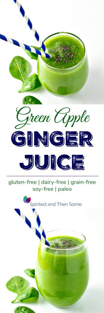 Green Apple Ginger Juice is a delicious paleo breakfast option to start your day off right! | spiritedandthensome.com