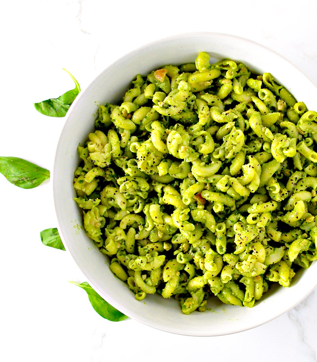 Homemade Basil Pesto without pine nuts is super delicious! Vegan + Paleo! | spiritedandthensome.com