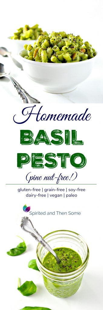 Homemade Basil Pesto without pine nuts is vegan and paleo and ready in minutes! | spiritedandthensome.com