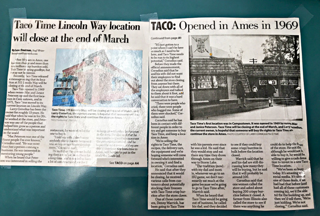 Newspaper clipping of Taco Time store closing in Ames, Iowa. | spiritedandthensome.com