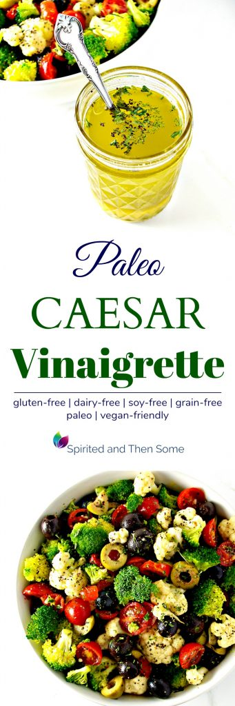 Paleo Caesar Vinaigrette is a gluten-free salad dressing recipe that can also be made vegan! | spiritedandthensome.com