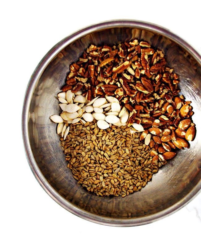 Paleo Granola ingredients are easily prepared in a stainless steel bowl! | spiritedandthensome.com