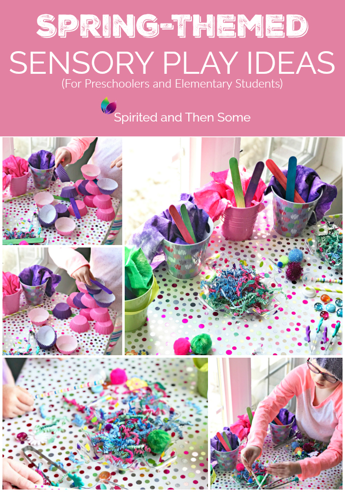 Spring-themed sensory play Ideas for preschoolers and elementary students! Individual and group activities. STEM and loose parts play ideas, too! | spiritedandthensome.com