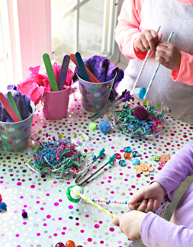 Kids playing with sensory toys for spring! | spiritedandthensome.com