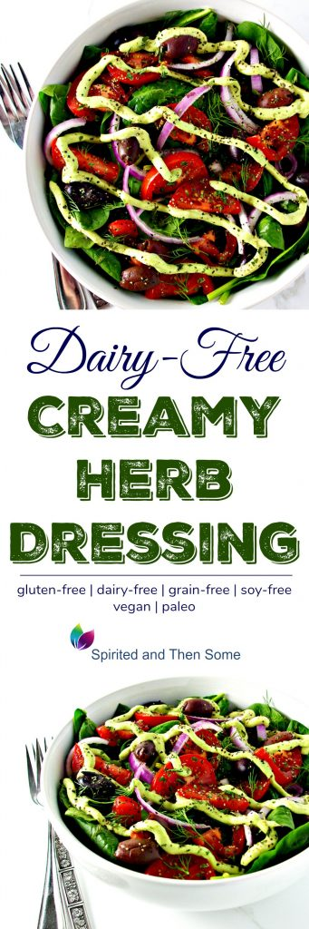 This Dairy-Free Creamy Herb Dressing is the perfect gluten-free salad dressing recipe! Made with cashews, it's rich and creamy without the dairy! | spiritedandthensome.com