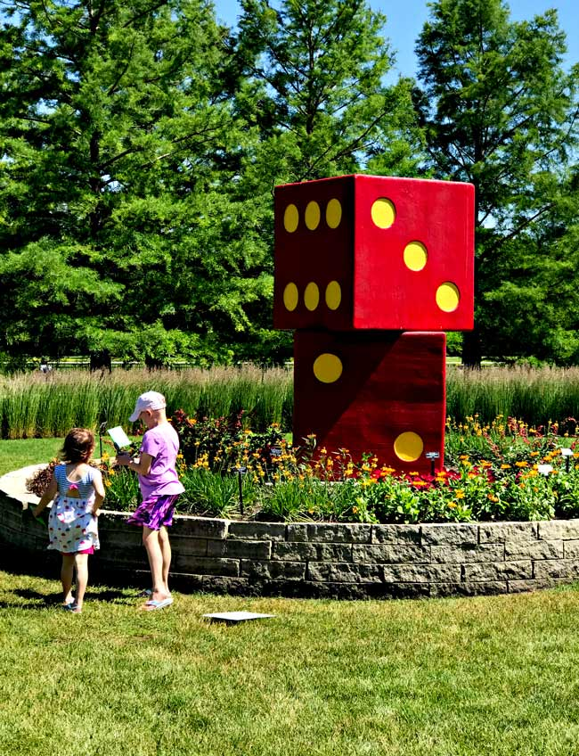 Dice sculpture at Reiman Gardens in Ames, Iowa! | spiritedandthensome.com