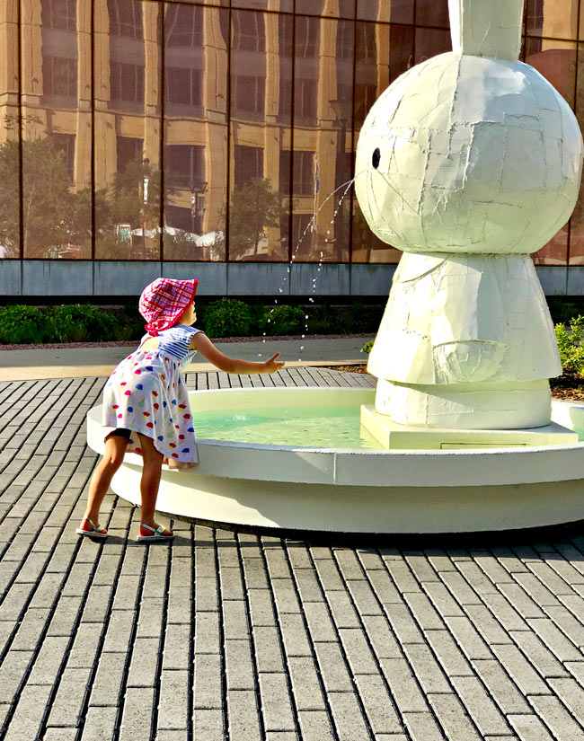 Miffy Fountain by Tom Sachs at the Pappajohn Sculpture Park in Des Moines, Iowa! | spiritedandthensome.com