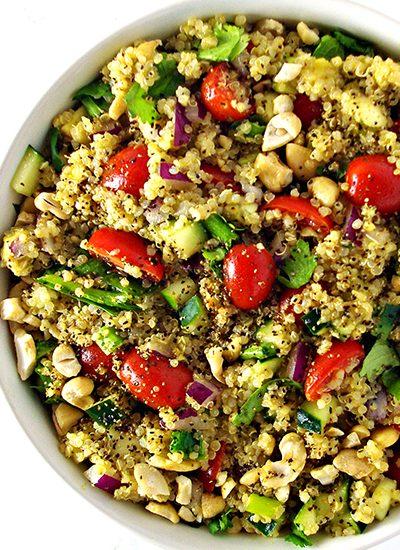Gluten-free Avocado Quinoa Salad is a delicious soy-free vegan dinner recipe! | spiritedandthensome.com