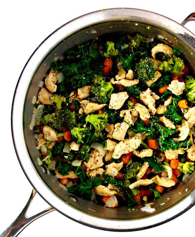 Chicken Kale Stir-Fry is best prepared in a large sauté pan! | spiritedandthensome.com