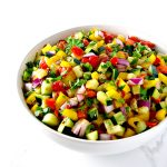 Cucumber Pico de Gallo is the perfect vegan and paleo recipe to pair with burgers, salads, chips, or a spoon! | spiritedandthensome.com