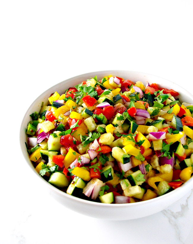 Cucumber Pico de Gallo is a mouthwatering, fun way to eat your vegetables! | spiritedandthensome.com