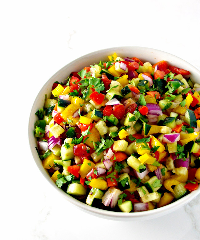 Homemade Cucumber Pico de Gallo is a delicious way to eat your vegetables! | spiritedandthensome.com