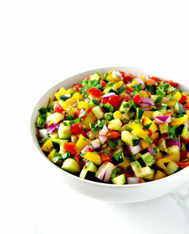 Cucumber Pico de Gallo is a delicious healthy appetizer recipe that is ready to go in minutes! | spiritedandthensome.com