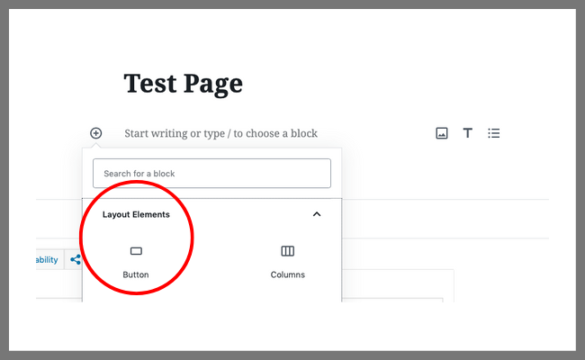 Select the Button option in Layout Elements - how to create your own Instagram landing page | spiritedandthensome.com