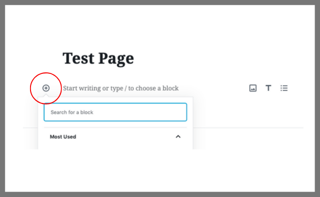 """Select the """"+"""" sign in the Block Editor - how to create your own Instagram landing page 