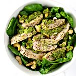 Pesto-Baked Chicken breasts are delicious with cauliflower rice, gluten-free, pasta, or by themselves! | spiritedandthensome.com