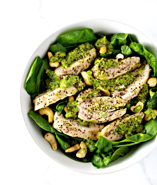 Pesto-Baked Chicken is an easy paleo dinner recipe the whole family can enjoy! | spiritedandthensome.com