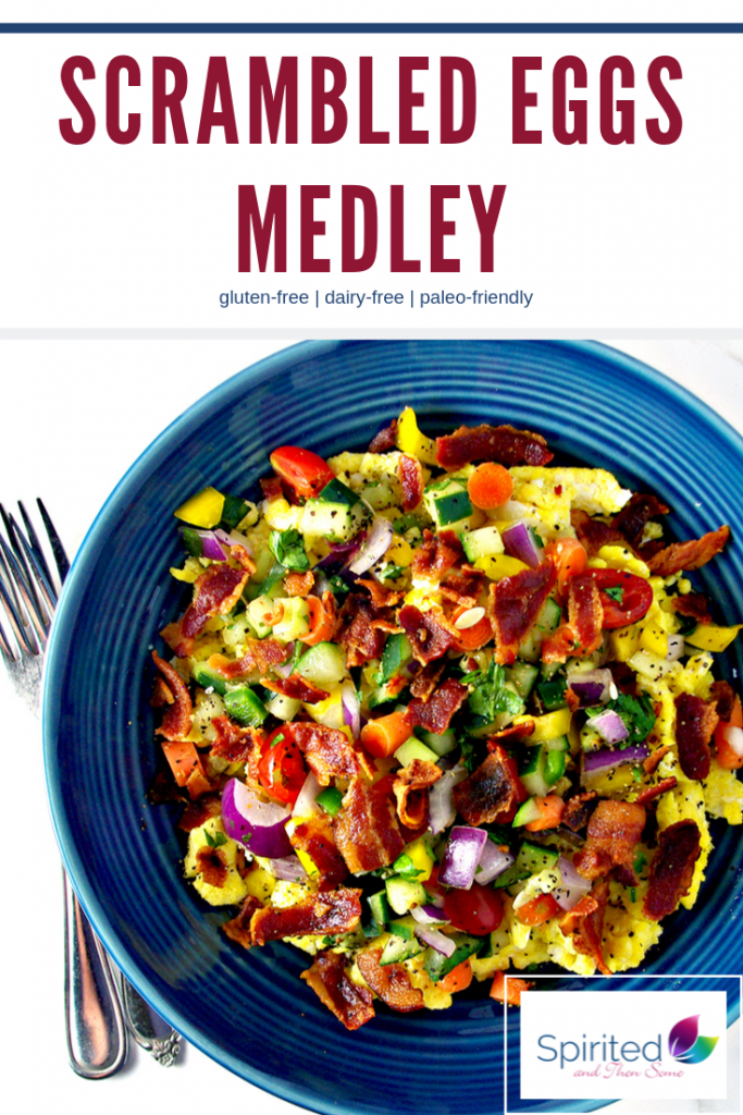 Scrambled Eggs Medley is a delicious paleo-friendly breakfast recipe made with fluffy eggs, salsa, and crispy bacon! | spiritedandthensome.com
