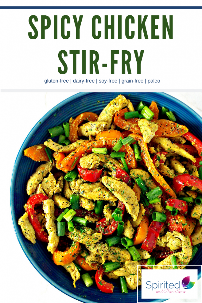 Spicy Chicken Stir-Fry is an easy paleo dinner recipe that also happens to be a soy-free stir-fry, too! Made with coconut aminos, turmeric, and cumin, it packs a delicious flavor! | spiritedandthensome.com