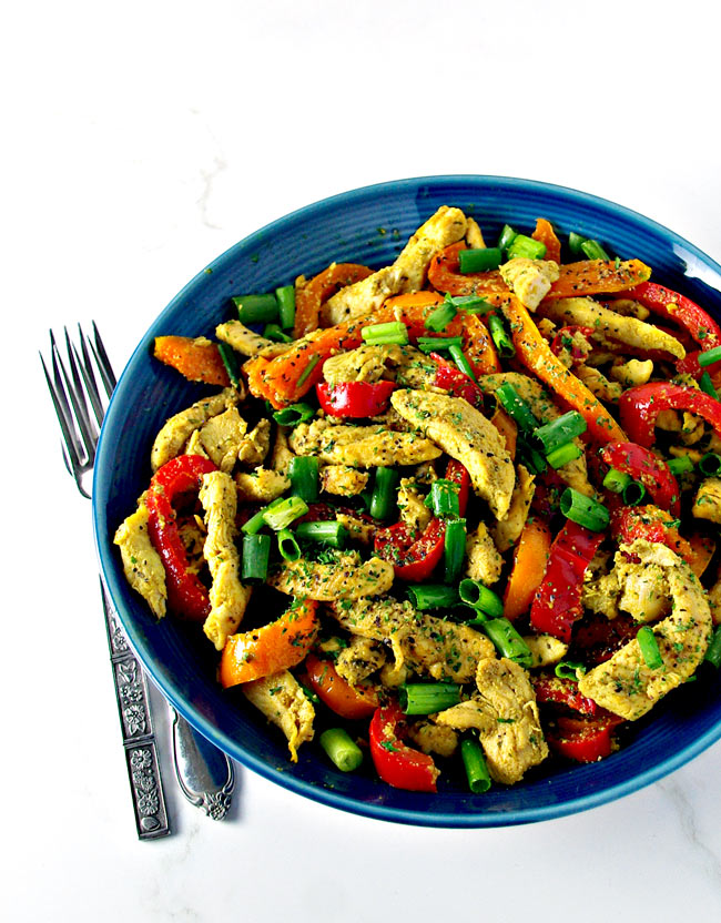 Made with cumin, bell peppers, coconut aminos, and turmeric, Spicy Chicken Stir-Fry is a delicious gluten-free recipe for lunch and dinner!   spiritedandthensome.com
