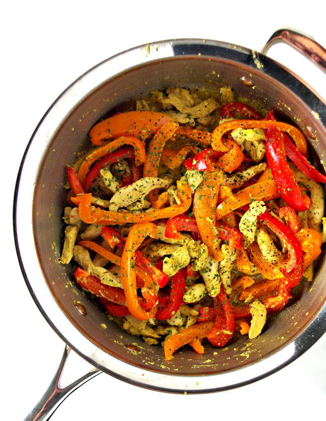 Sautéed peppers and chicken come together for a delicious soy-free stir-fry recipe! | spiritedandthensome.com