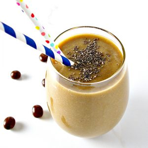 Vanilla Coffee Protein Smoothie with no banana is a satisfying way to start the day! | spiritedandthensome.com