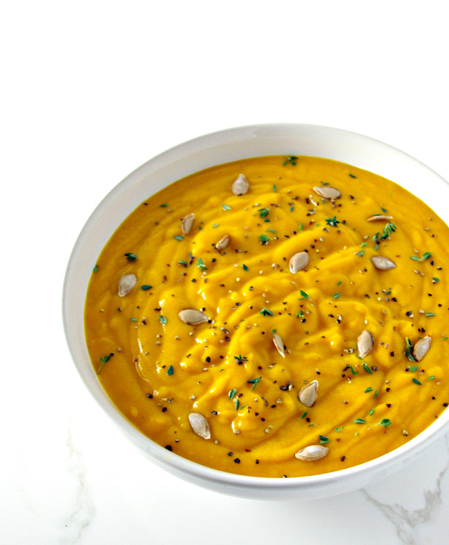 Dairy-Free Roasted Butternut Squash Soup is made with thyme, sage, cinnamon, nutmeg, and cumin, to name a few flavors! | spiritedandthensome.com