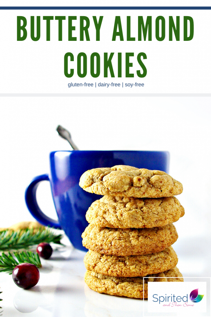 Buttery Almond Cookies are a gluten-free soft almond cookie recipe! Made with soy-free, dairy-free buttery spread and gluten-free flour, these Christmas cookies are delicious! | spiritedandthensome.com