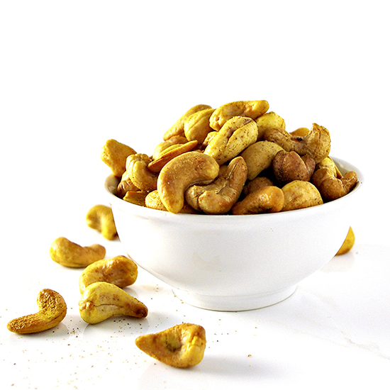 Spicy Roasted Cashews are an easy gluten-free finger food snack to prepare in 20 minutes with only 5 ingredients! | spiritedandthensome.com