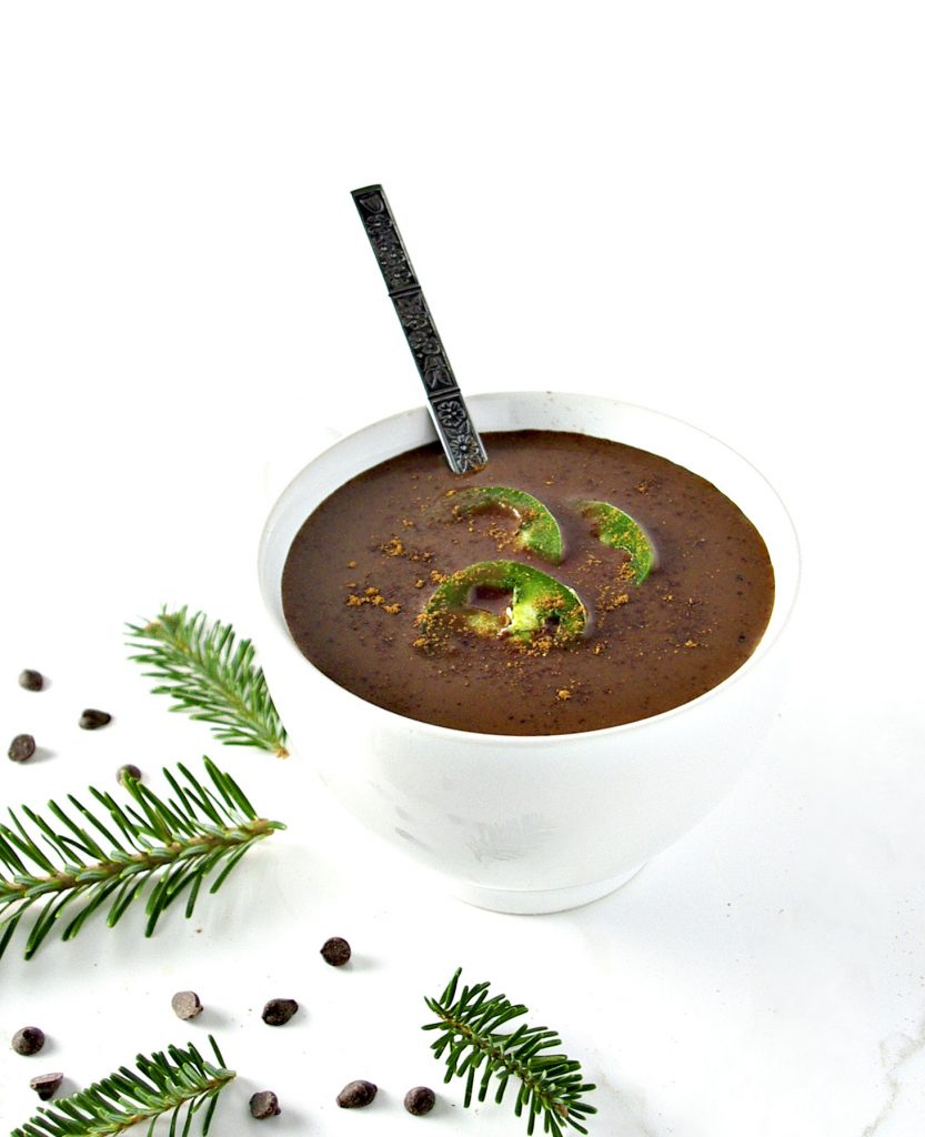 Vegan, soy-free Spicy Hot Chocolate is flavored with allspice, cinnamon, and a jalapeño for a dairy-free chocolatey drink with a kick! | spiritedandthensome.com