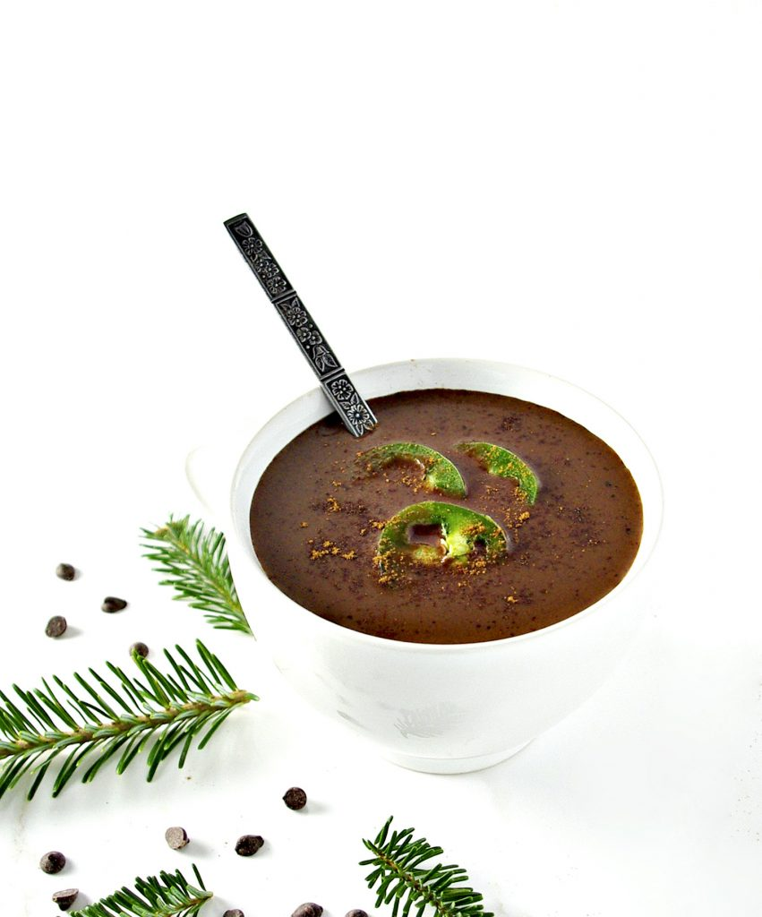 Spicy Hot Chocolate packs the heat with allspice, cinnamon, and jalapeños! This is a delicious dairy-free hot chocolate recipe! | spiritedandthensome.com