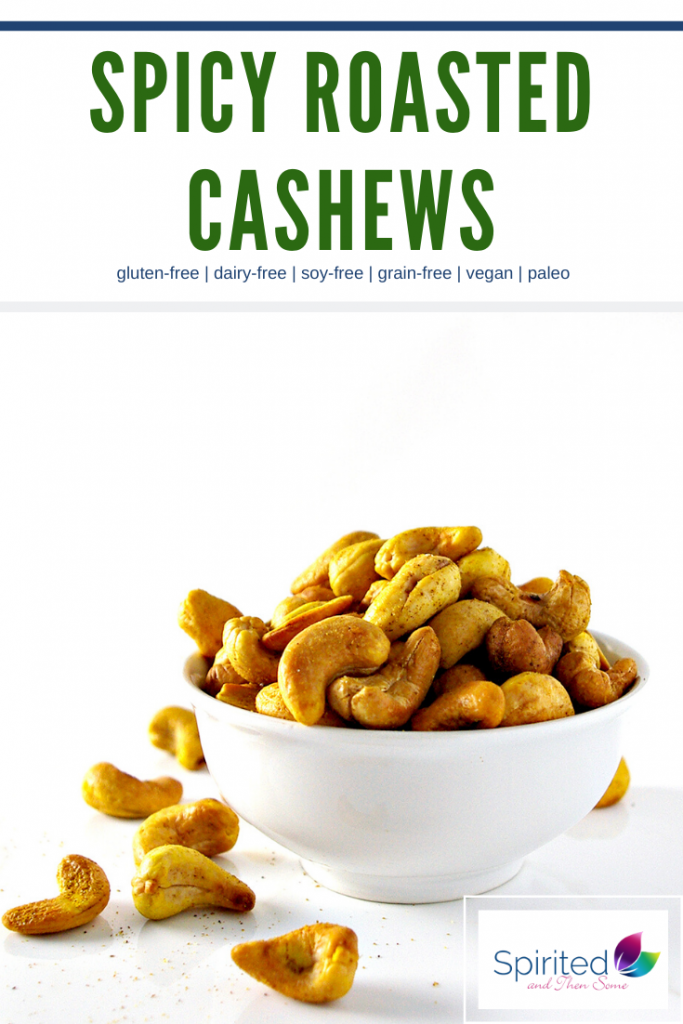 Spicy Roasted Cashews are incredibly satiating and contain only FIVE ingredients! They are a delicious paleo and vegan healthy Christmas appetizer recipe! {Paleo + Vegan} | spiritedandthensome.com