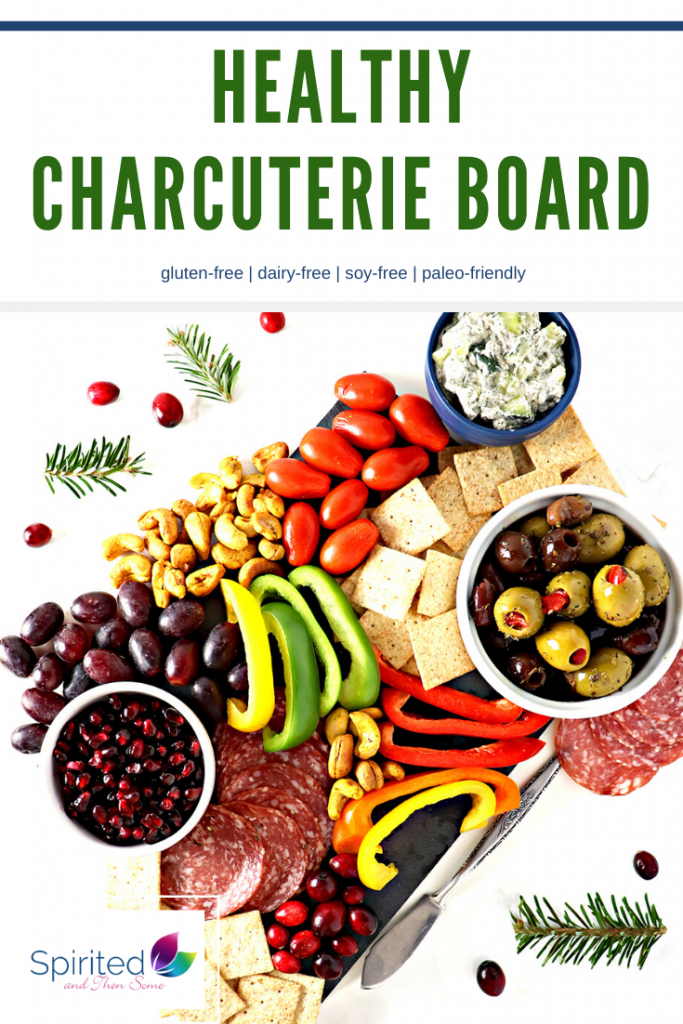 This dairy-free Healthy Charcuterie Board is festooned with olives, almond flour crackers, grapes, salami, bell peppers, Paleo Tzatziki Sauce, and Spicy Roasted Cashews. Decorate it with cranberries and pomegranate arils for added festivity! {Paleo-friendly}