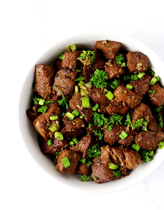 Garlic Butter Steak Bites are a delicious, quick, healthy appetizer or main dish recipe! | spiritedandthensome.com