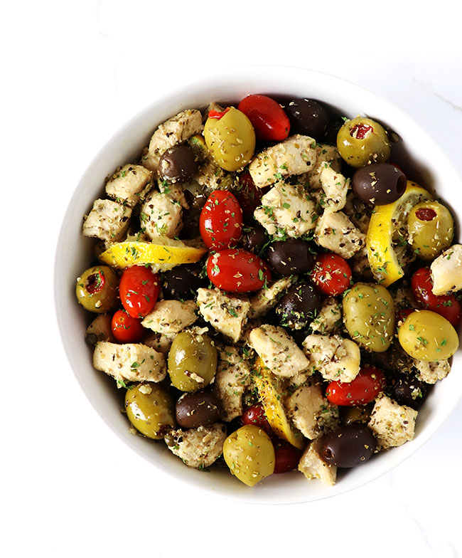 Mediterranean Chicken Sauté is a mouthwatering gluten-free dinner recipe, flavored with lemon, olives, capers, and tomatoes! | spiritedandthensome.com