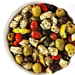 This Mediterranean Chicken Sauté, made with olives, capers, lemon, and tomatoes is a delicious, easy gluten-free dinner recipe!   spiritedandthensome.com