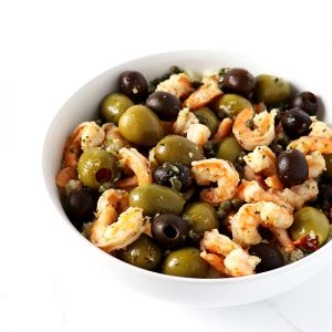 Mediterranean Shrimp Sauté is an easy paleo dinner recipe, flavored with lemon, capers, garlic, and olives! | spiritedandthensome.com