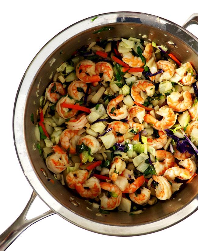 Sautéed shrimp, cabbage, coconut aminos are perfect for a paleo stir-fry recipe! | spiritedandthensome.com