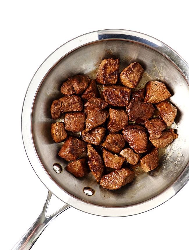 Sirloin cubes flash-cooked in a saute pan fora delicious appetizer or main dish recipe! | spiritedandthensome.com