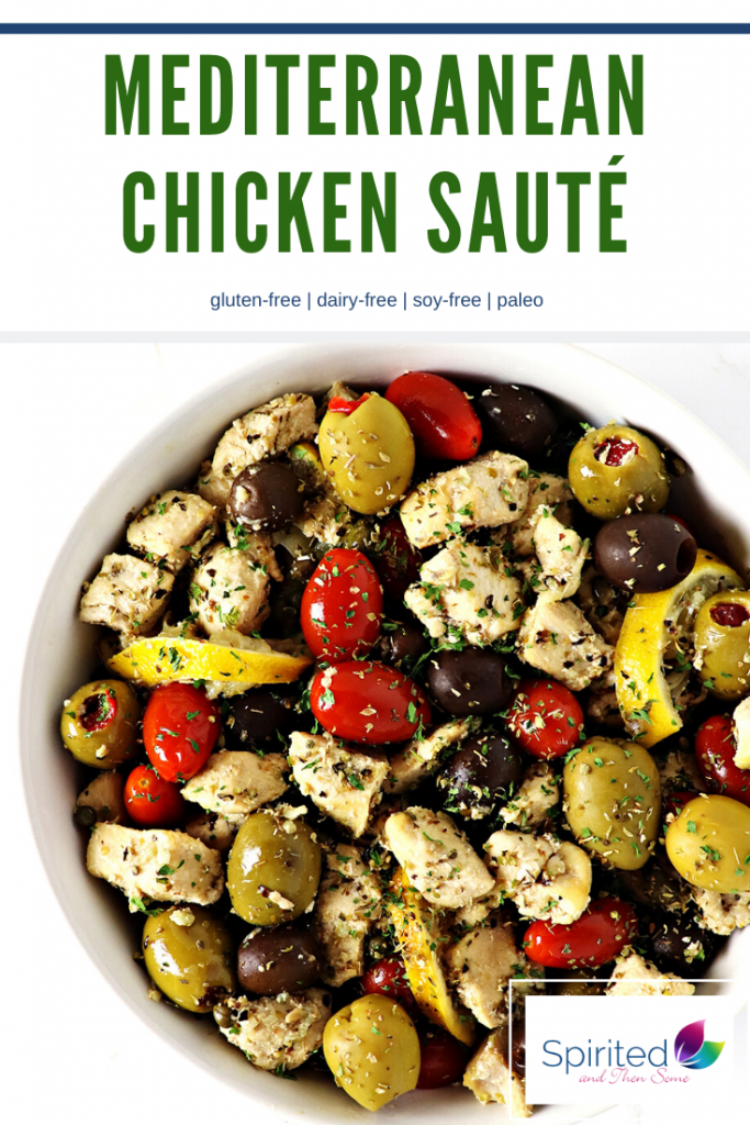 This Mediterranean Chicken Sauté, made with olives, capers, lemon, and tomatoes is a delicious, easy gluten-free dinner recipe! | spiritedandthensome.com