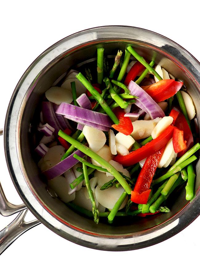 Steamed vegetables with water chestnuts make a wonderful paleo side dish recipe! | spiritedandthensome.com
