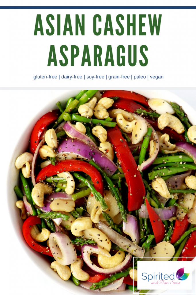 Asian Cashew Asparagus is a delicious soy-free side dish recipe, made with red bell peppers, red onion, garlic, and coconut aminos! | spiritedandthensome.com
