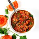 Chimichurri Rojo Sauce is a delicious Argentinian-inspired red sauce you can add to steak, chicken, seafood, chips, crackers, and even a spoon! :) | spiritedandthensome.com